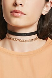 Forever 21 Chain Faux Leather Choker Set