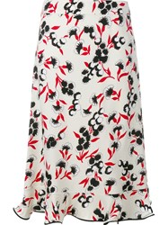 Marni Floral Print A Line Skirt Nude And Neutrals