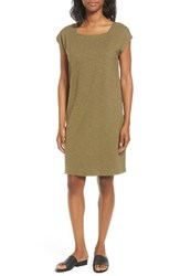 Eileen Fisher Women's Hemp And Organic Cotton Square Neck Shift Dress Olive