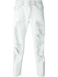 Love Moschino Cropped Ripped Jeans Blue