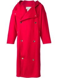 Jc De Castelbajac Vintage Hooded Oversized Coat Red