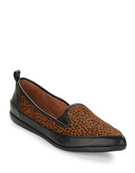 Adrianna Papell Lennox Leopard Print Calf Hair Loafers Brown