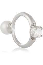 Maison Martin Margiela Rhodium Plated Faux Pearl And Cubic Zirconia Ring