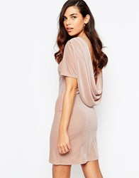 Lashes Of London Ellie Velvet Cowl Back Dress Nude Pink