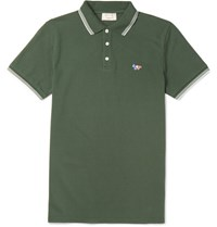 Maison Kitsune Maion Kitune Lim Fit Contrat Tipped Cotton Pique Polo Hirt Dark Green