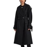 Proenza Schouler Oversized Wool Blend Trench Coat Black