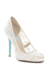 Betsey Johnson Mave Embroidered Mesh Peep Toe Pump Beige
