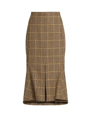 Balenciaga Kick Flare Hound's Tooth Wool Skirt Brown Multi