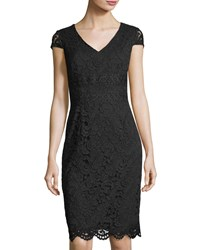Tahari By Arthur S. Levine Cap Sleeve Lace Sheath Dress Black