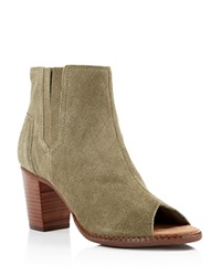 Toms Majorca Quilted Suede Open Toe Booties Tarmac Olive