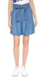 3.1 Phillip Lim Chambray Paper Bag Waist Shorts Medium Indigo