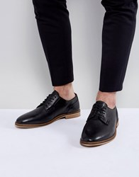 Asos Lace Up Derby Shoes In Black Leather With Natural Sole Black