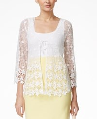 Alfani Petite Crochet Lace Cardigan Only At Macy's Bright White
