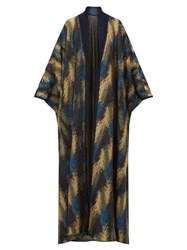 Missoni Metallic Jacquard Knit Cape Cardigan Navy Gold