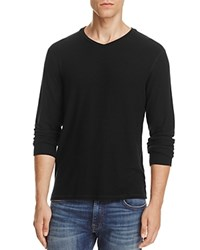 Velvet Long Sleeve V Neck Tee Black