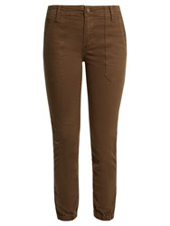 Vince Slim Leg Stretch Cotton Twill Trousers Khaki