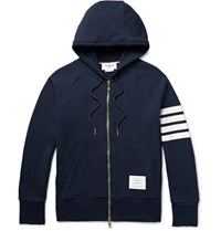 Thom Browne Striped Loopback Cotton Jersey Zip Up Hoodie Navy
