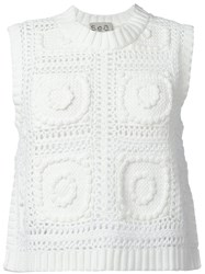 Sea Cropped Knitted Tank White