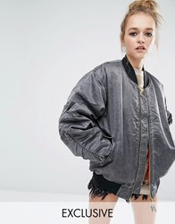 Reclaimed Vintage Oversized Ma1 Bomber Jacket In Acid Wash Grey