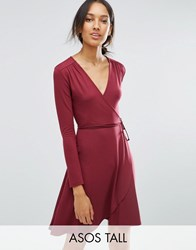 Asos Tall Mini Wrap Tea Dress With Long Sleeve Oxblood Red