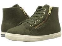 Superga 2224 Polywoolw Green Olive Women's Lace Up Casual Shoes