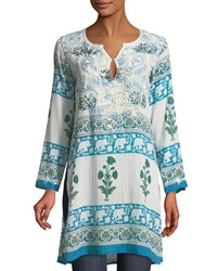 Raj Long Sleeve Wallpaper Embroidered Tunic Blue