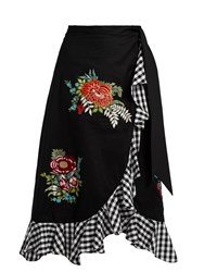 House Of Holland Floral Embroidered Ruffle Trimmed Cotton Skirt Black