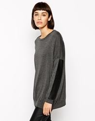 Eleven Paris Bulax Jumper With Leather Panels Grey