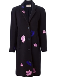 Christopher Kane Flower Sticker Evening Coat Blue