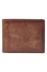 Fossil 'Derrick' Leather Wallet Brown