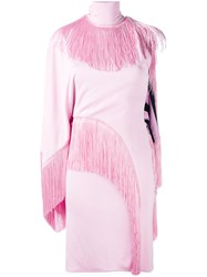 Givenchy Asymmetric Tassel Dress Women Silk Acetate Viscose 38 Pink Purple