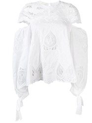 Jonathan Simkhai Cut Out Detail Embroidered Smock Blouse Women Cotton S White