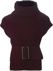 Toga Pulla Belted Shortsleeved Sweater Red