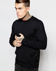Asos Jumper With Leather Look Side Panel Black