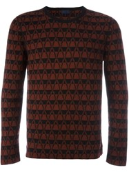 Lanvin Chevron Pattern Jumper Red