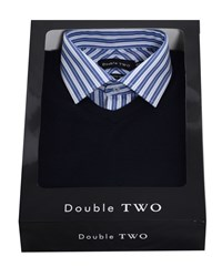 Double Two Men's Shirt And Jumper Set Navy
