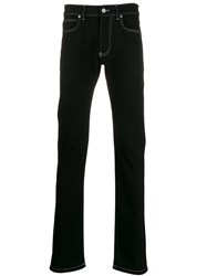 Versace Contrast Stitch Straight Denim Jeans Black