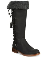 Xoxo Selby Faux Fur Lace Up Boots Women's Shoes Black