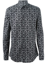Dolce And Gabbana Crown And Bee Print Shirt Grey