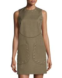 M Missoni Embossed Faux Leather Shift Dress Olive