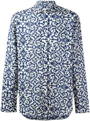 Salvatore Piccolo Printed Sport Shirt Blue