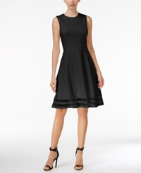 Calvin Klein Petite Illusion Fit And Flare Dress Black