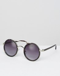 Missguided Round Wire Sunglasses Black