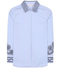 Tory Burch Keegan Embroidered Cotton Shirt Blue