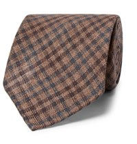 Thom Sweeney 8Cm Checked Wool And Silk Blend Tie Brown