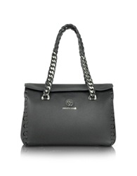 Roberto Cavalli Small Black Leather Satchel