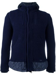Bark Knitted Hooded Jacket Blue