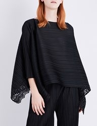 Issey Miyake Sheer Lace Pleated Tunic Top Black