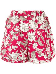 La Doublej Lilium Ruffle Shorts Cotton Nylon S Red
