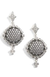 Freida Rothman Women's Disc Drop Earrings Rhodium And Black Rhodium